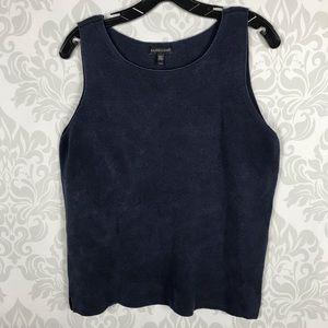 Eileen Fisher Blue Textured Silk Blend Tank Top M
